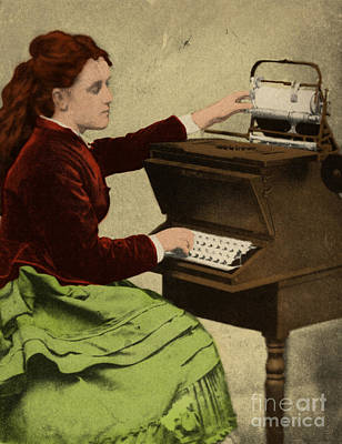 Lillian Sholes, The First Typist, 1872 Print by Science Source