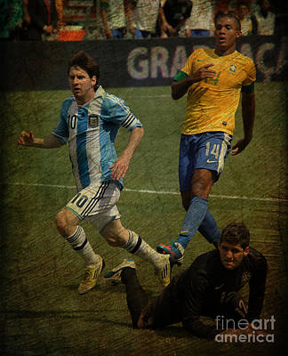 Photograph - Lionel Messi Breaking Raphael Cabrals Ankles II by Lee Dos Santos
