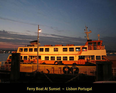 Photograph - Lisbon Ferry Boat At Sunset Portugal by John Shiron