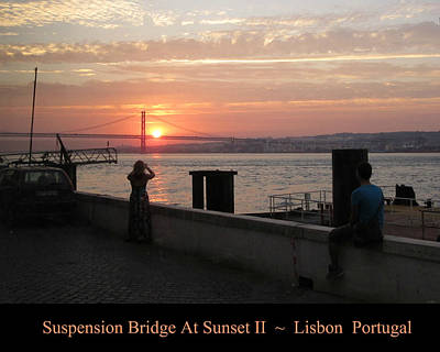 Photograph - Lisbon Suspension Bridge At Sunset II Portugal by John Shiron