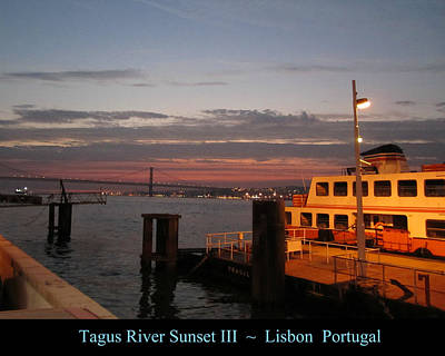 Photograph - Lisbon Tagus River Sunset IIi Portugal by John Shiron