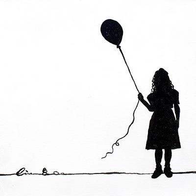 Little Girls On Little Canvas  Art Print by Cindy D Chinn