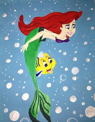 Flounder Painting - Little Mermaid by Rachel Adler