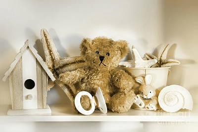 Little Rusty Teddy Bear Art Print by Sandra Cunningham