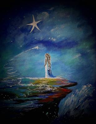 Little Wishes By The Sea Art Print by Leslie Allen