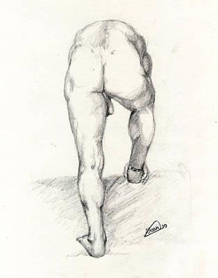 Live Nude Model Art Print by Alban Dizdari