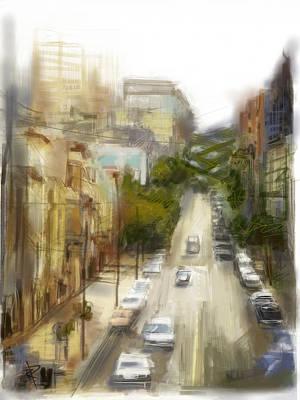 Rainy Day Mixed Media - Lombard Street by Russell Pierce