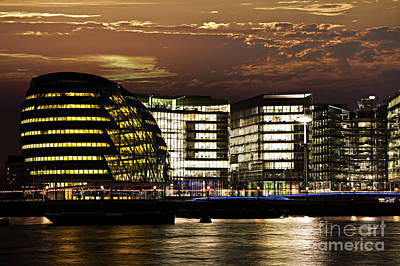 London City Hall At Night Art Print by Elena Elisseeva