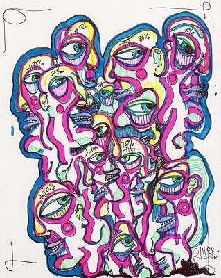 Neo Expressionism Drawing - Look Around by Robert Wolverton Jr