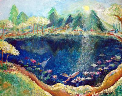 Lotus Lake Art Print