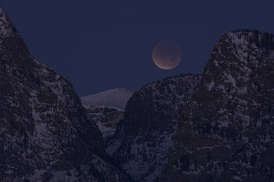 Photograph - Lunar Eclipse Grand Teton National Park by Benjamin Dahl