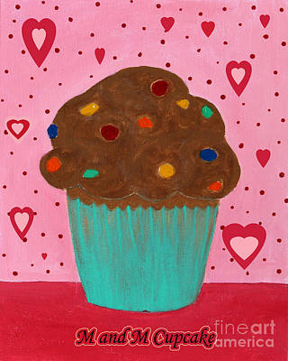 M And M Cupcake Art Print by Barbara Griffin