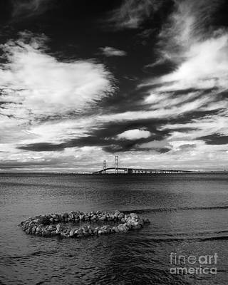 Photograph - Mackinac Bridge - Infrared 02 by Larry Carr