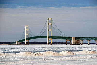 Mackinac Bridge In Winter Art Print