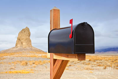 Mailbox In Desert Art Print by David Buffington
