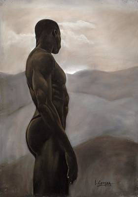 Monochromatic Study Pastel - Man Looking At Sunset by L Cooper