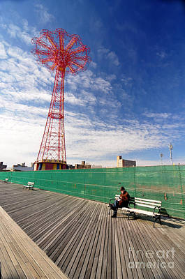Bklyn Photograph - Man On A Bench by Mark Gilman