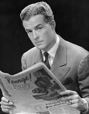 Man Reading Newspaper Art Print by George Marks