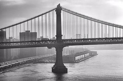 Photograph - Manhattan Bridge In Morning Fog by Steven Richman