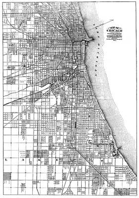 1874 Photograph - Map: Chicago, 1874 by Granger