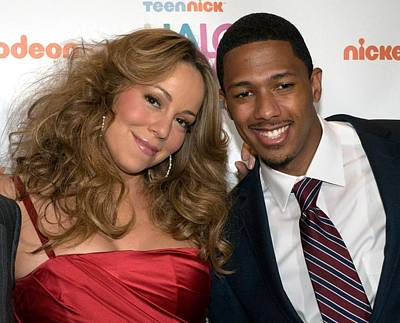 Mariah Carey, Nick Cannon At A Public Art Print by Everett