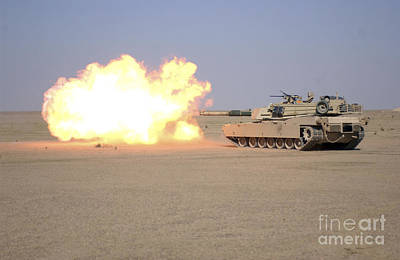 Marines Fire Their M1a1 Abrams Tank Art Print by Stocktrek Images