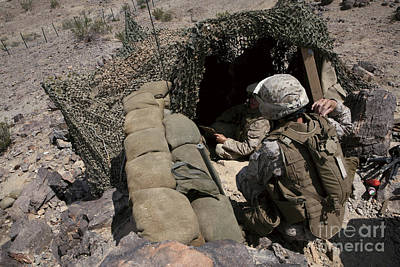 Netting Photograph - Marines Provide Security by Stocktrek Images