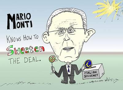 Debt Mixed Media - Mario Monti Caricature by OptionsClick BlogArt
