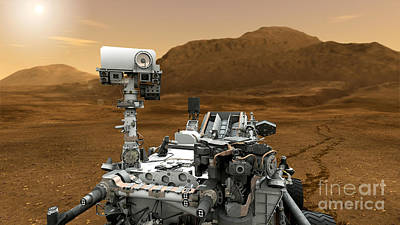 Mars Rover Curiosity, Artists Rendering Art Print by NASA/Science Source