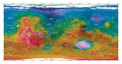 Hellas Photograph - Mars Topographical Map, Satellite Image by Detlev Van Ravenswaay