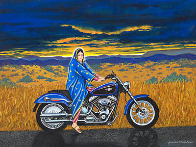 Mary And The Motorcycle Art Print by James Roderick