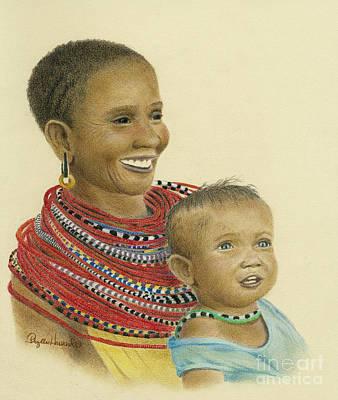 Drawing - Masai Mom And Babe by Phyllis Howard