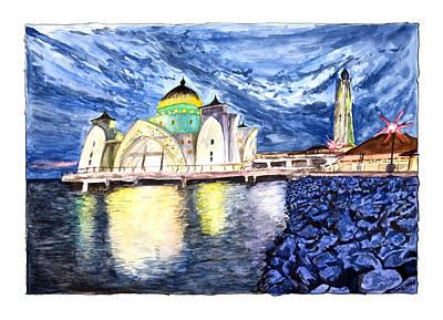 Painting - Masjid Selat Melaka Of Malaysia by Rafay Zafer