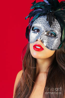 Masquerade Mask Red Background Art Print by Richard Thomas