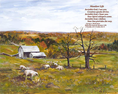 Painting - Meadow Life With Poem by George Richardson