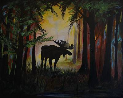 Painting - Meadow Moose by Leslie Allen
