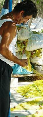 Greek Photograph - Mending The Nets by Therese Alcorn