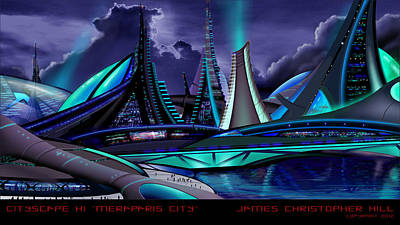 Future City Painting - Meraparis City by James Christopher Hill