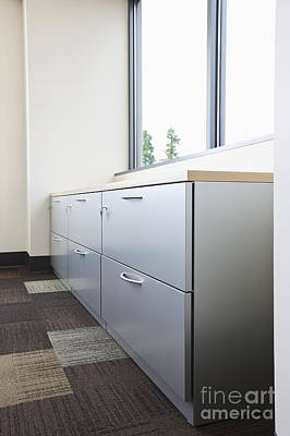 Office Space Photograph - Metal Drawers And Shelf by Jetta Productions, Inc