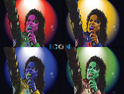 Michael Jackson Icon4 Art Print by Mike  Haslam