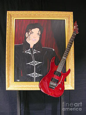 Guitar Painting - Michael's Talent by Hubert Ebel