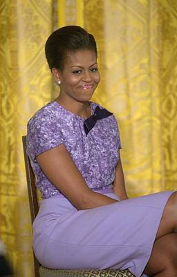 Michelle Obama Photograph - Michelle Obama Wearing An Anne Klein by Everett