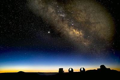 Keck Photograph - Milky Way And Observatories, Hawaii by David Nunuk