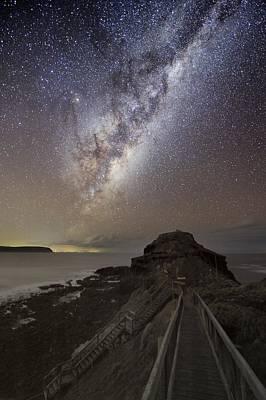 Moonlit Night Photograph - Milky Way Over Cape Schanck, Australia by Alex Cherney, Terrastro.com