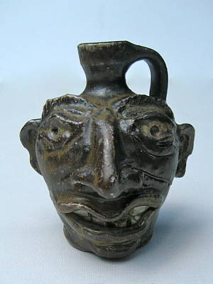 Wood Fired Stoneware Ceramic Art - Miniature Face Jug by Stephen Hawks