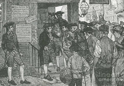 Mob Confronting Stamp Officer Art Print by Photo Researchers