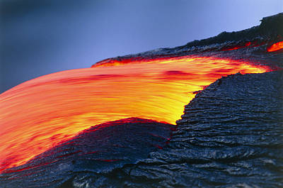 Molten Pahoehoe Lava Spilling From A Lava Tube Art Print by G. Brad Lewis