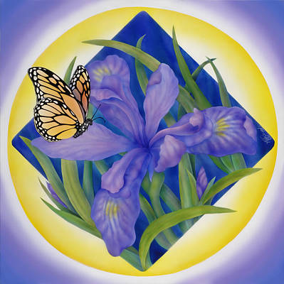 Monarch Butterfly And Iris Art Print by Marcia  Perry
