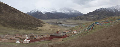 Tibetan Buddhism Photograph - Monastery Buildings In Mountain Valley by Phil Borges