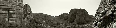 Photograph - Monastery Of Saint Nicholas Anapafsas And A View To The Monastery Of Roussanou by Jouko Lehto